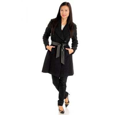 711-090 - Larry Levine One-Button Tie Front 3/4 Length Wool Wrap Coat