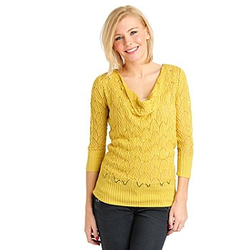 711-098 - Kate & Mallory Pointelle Knit 3/4 Sleeved Drape Neck Pullover Sweater