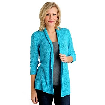 711-103 - OSO Casuals Open Slub Knit 3/4 Sleeved Drape Neck Cardigan