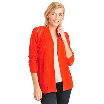 711-106 -  Kate & Mallory Pointelle Knit Long Sleeved Open Front Cardigan Sweater