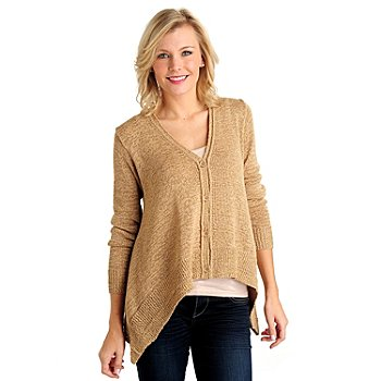 711-108 - WD.NY Metallic Tape Yarn Sharkbite Hem V-Neck Sweater Cardigan