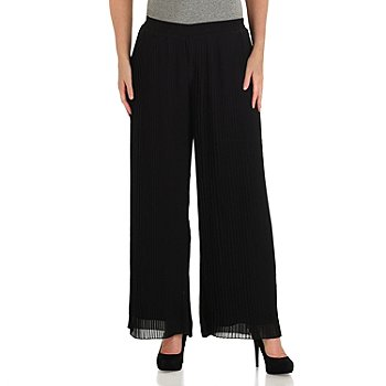 711-114 - WD.NY Chiffon Pleated Fully Lined Palazzo Pants