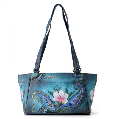 711-116 - Anuschka Hand Painted Leather Zip Top Small East-West Tote Bag
