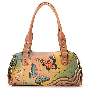 711-117 - Anuschka Hand Painted Leather Zip Top Satchel Bag