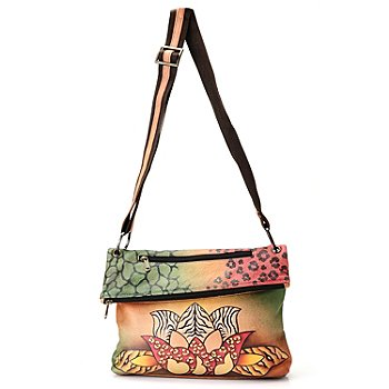 711-118 -  Anuschka Hand Painted Leather Asymmetrical Flap Cross Body Bag
