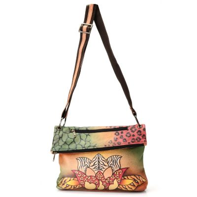 711-118 -  Anuschka Hand-Painted Leather Asymmetrical Flap Cross Body Bag