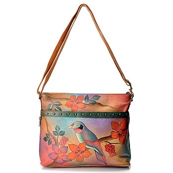 711-120 - Anuschka Hand Painted Leather Medium Organizer Cross Body Bag