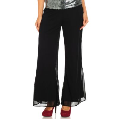 711-132 - Kate & Mallory Chiffon Drop Waisted Fully Lined Wide Leg Pants
