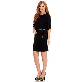 711-146 - aDRESSing WOMAN Stretch Knit Dolman Sleeved Blouson Dress w/ Chain Belt