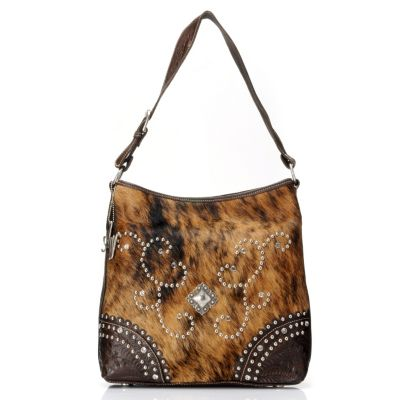 711-245 - American West Hand Tooled Leather & Calf Hair Hobo Handbag
