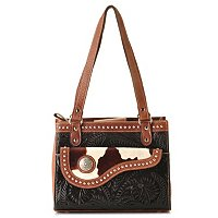 American West 3 Compartment Hand Tooled Leather Tote with Hair