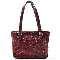 American West Hand Tooled Leather Multi Compartment Tote Bag