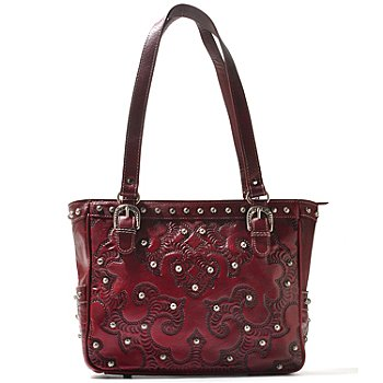 711-252 - American West Hand Tooled Leather Stud Detailed Zip Top Tote Bag