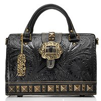 American West Hand Tooled Large Leather Doctor's Bag with Brass Hardware