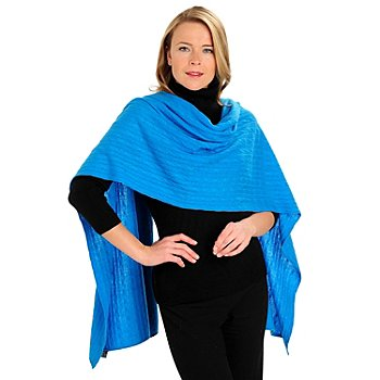 711-262 - Lusso 100% Two-Ply Cashmere Cable Knit Oversized Wrap