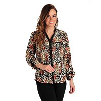 Kate & Mallory 2 Pocket Blouse with Tab Sleeve