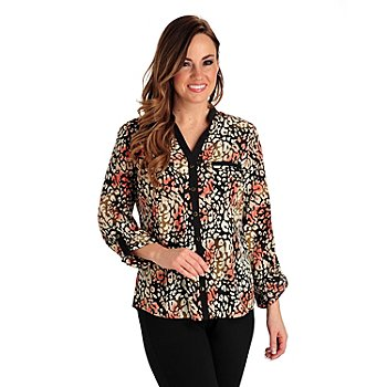 711-263 - Kate & Mallory Print Woven Tab Sleeved Mandarin Y-Neck Two-Pocket Blouse