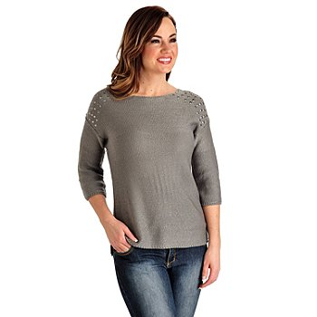 711-265 - Kate & Mallory Garter Stitch Knit Elbow Sleeved Stud Shoulder Pullover Sweater