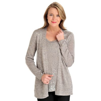 711-277 - Love, Carson by Carson Kressley Sweater Knit Sequined Shoulder Open Cardigan