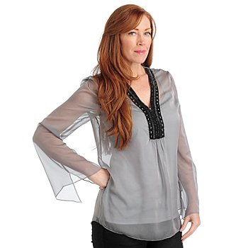 711-283 - Love, Carson by Carson Kressley Chiffon Beaded Neck Blouse w/ Layering Camisole