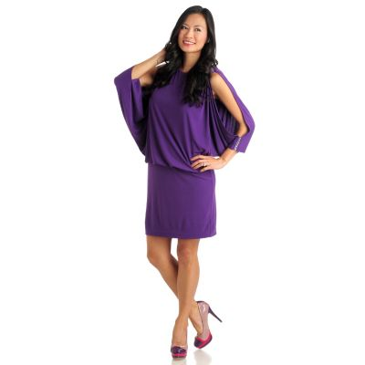 711-285 - Love, Carson by Carson Kressley Stretch Knit Cold Shoulder Blouson Dress