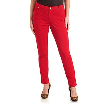 711-287 - Love, Carson by Carson Kressley Stretch Ponte Five-Pocket Straight Leg Pants