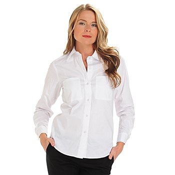 711-294 - OSO Casuals Stretch Woven Long Sleeved Button Front Two-Pocket Shirt