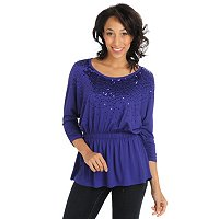 Glitterscape Dolman Sleeve Sequin Top