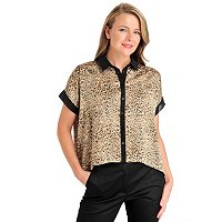 WDNY Animal Print Top with Contrast Trim