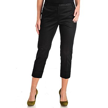 711-307 - WD.NY Stretch Sateen Cuffed Extended Tab Cropped Pants