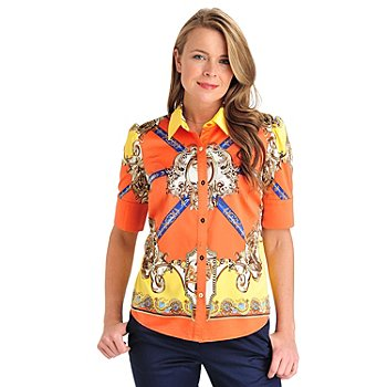 711-308 - WD.NY Stretch Charmeuse Elbow Sleeve Status Printed Blouse