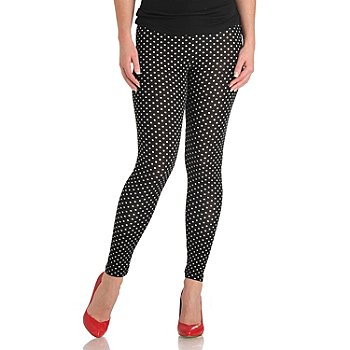 711-313 - WD.NY Stretch Knit Polka Dot Print Ankle Length Leggings