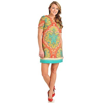 711-317 - WD.NY Printed Voile Elbow Sleeved Half Zip Back Shift Dress