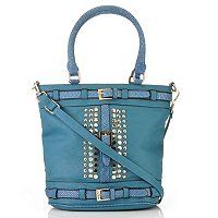 "Nicole Lee ""Lori"" Studded Contrast Patent Python Dome Shopper"