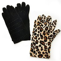 Donna Salyers' Fabulous Furs Faux Set of Two Velveteen Stretch Gloves