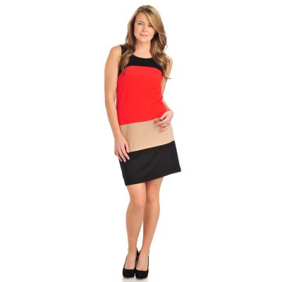711-449 - Geneology Stretch Ponte Sleeveless Color Block Shift Dress