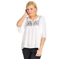 One World Solid Embroidered Beaded Peasant Top