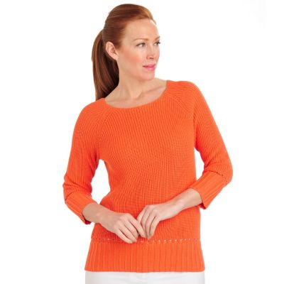711-456 - Geneology Tape Yarn 3/4 Sleeved Rib Trimmed Pullover Sweater
