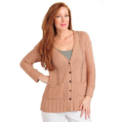 711-458 - Geneology Pointelle Knit Long Sleeved Patch Pocket Cardigan Sweater