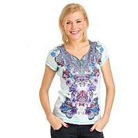 One World Short Sleeve Mirror Print Satin Bling Henley