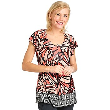 711-464 - One World Micro Jersey Knit Flutter Sleeved Notch Neck Studded Yoke Top