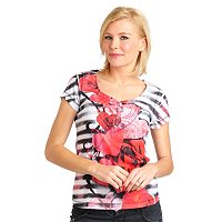 One World Flutter Sleeve Bling V-neck Henley