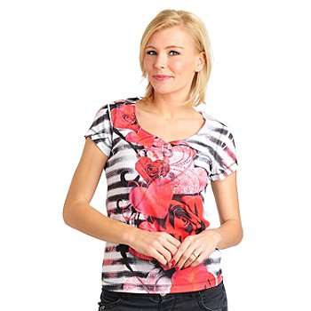 711-466 - One World Printed Rib Knit Short Sleeved Sweetheart Neck Henley Top