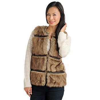 711-471 - Members Only Faux Fur Faux Leather Trim Hook & Eye Closure Collarless Vest