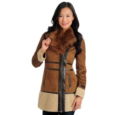 711-473 - Members Only Faux Shearling Faux Fur Collar Asymmetrical Zip Jacket
