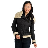 Members Only Puffer Jacket with Faux Sherpa Trim