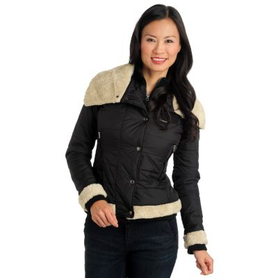711-474 - Members Only Nylon Faux Shearling Trimmed Puffer Coat
