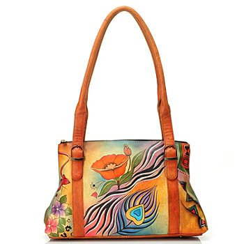 711-475 - Anuschka Hand Painted Leather Double Handle Shoulder Bag