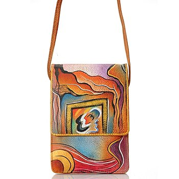 711-476 - Anuschka Hand Painted Leather Mini Sling Organizer Handbag