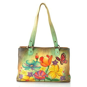 711-556 - Anuschka Hand Painted Leather Multi Compartment Organizer Tote Bag